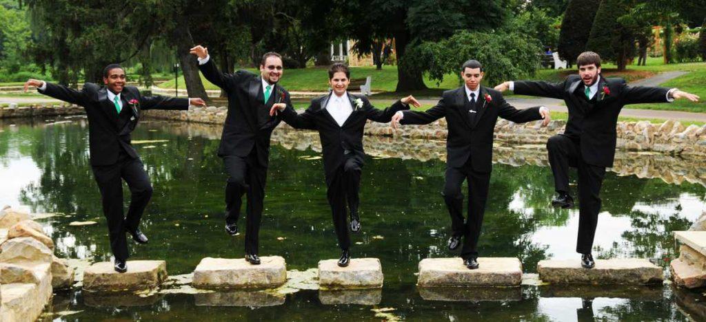 Wedding groomsmen dancing